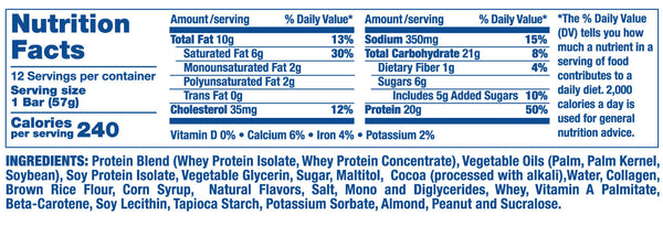 Ronnie coleman king whey protein crunch bar supplement nutrition facts