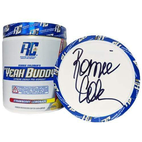 Image of Ronnie Coleman Signature Series Pre Workout SIGNED - Strawberry Lemonade Autographed - Yeah Buddy New Formula Ronnie Coleman Signature Series Bodybuilding Supplements