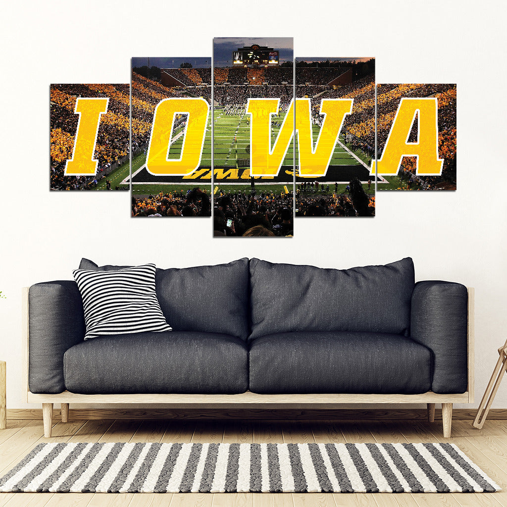Iowa Hawkeyes 5 Panel Full Canvas Artwork - societyofprints - Society of Prints - Canvas