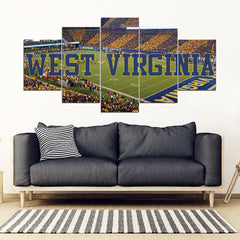 West Virginia Mountaineers 5 Panel Full Canvas Artwork