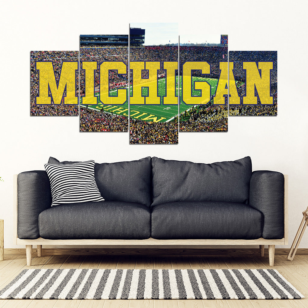 Michigan Wolverines 5 Panel FULL Canvas Artwork - societyofprints - Society of Prints - Canvas