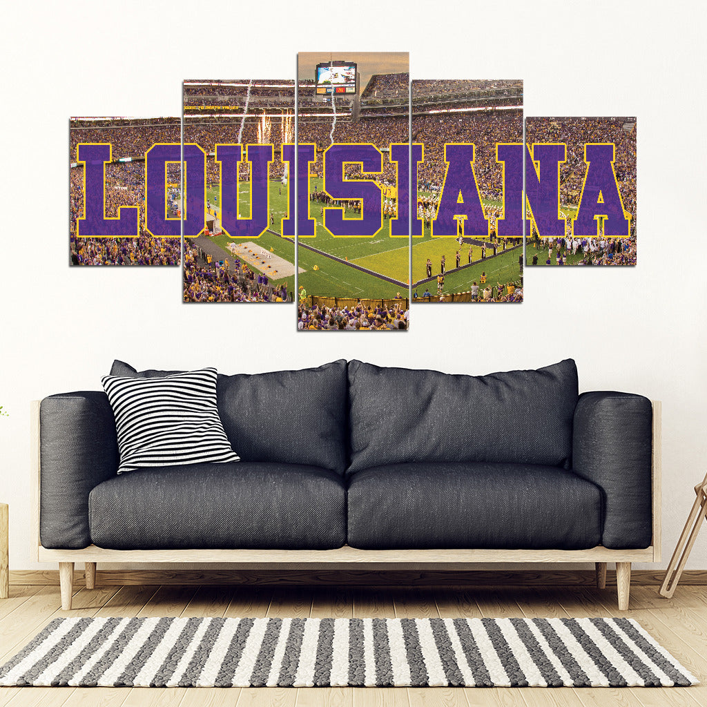 LSU Tigers 5 Panel FULL Canvas Artwork