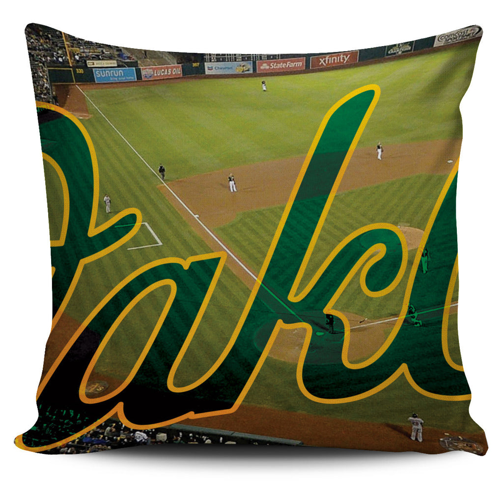 Oakland Color Panoramic Stadium Pillow Cover Set - societyofprints - Society of Prints -
