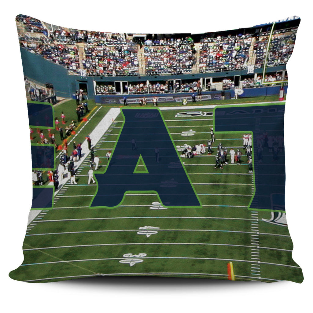 Seattle Football Stadium Panoramic Pillow Cover Set - societyofprints - Society of Prints -