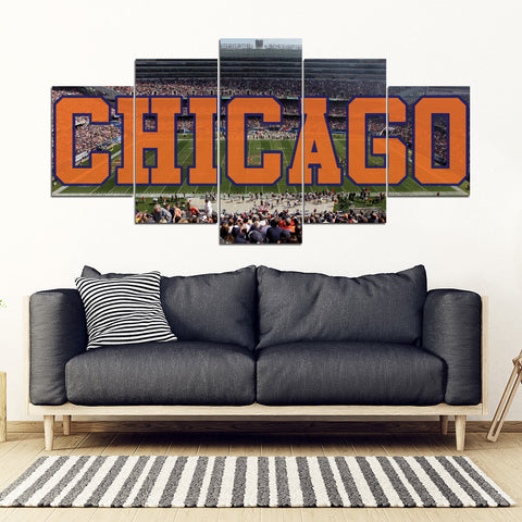 Chicago Bears 5 Panel FULL Canvas Artwork - societyofprints - Society of Prints - Canvas