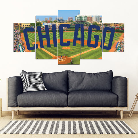 Chicago Cubs 5 Panel FULL Canvas Artwork - societyofprints - Society of Prints - Canvas