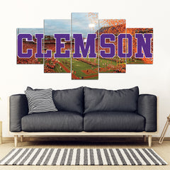 Clemson Tigers 5 Panel FULL Canvas Artwork - societyofprints - Society of Prints - Canvas