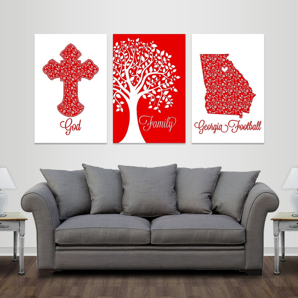 God, Family, Athens Football - Premium Canvas Set - societyofprints - Society of Prints - Canvas Wrap