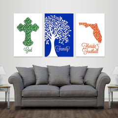God, Family, Gainesville Football - Premium Canvas Set - societyofprints - Society of Prints - Canvas Wrap