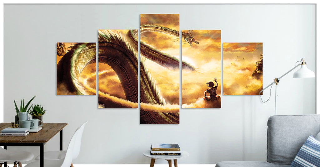 Goku Dragon Ball Z  - 5 Panel Premium Canvas Wraps - societyofprints - Society of Prints - Canvas
