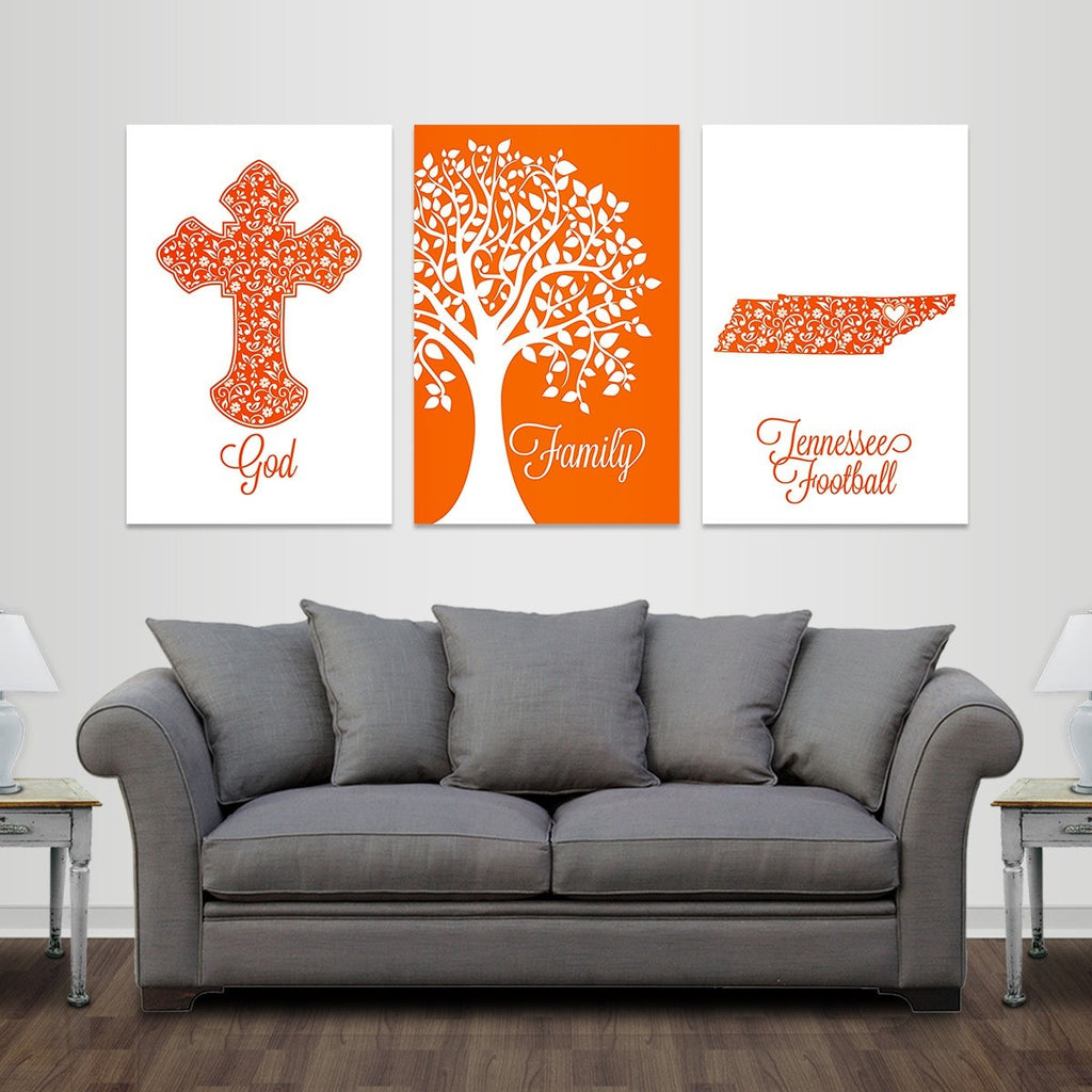 God, Family, Knoxville Football - Premium Canvas Set - societyofprints - Society of Prints - Canvas Wrap