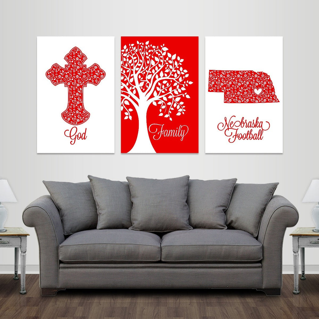 God, Family, Lincoln Football - Premium Canvas Set - societyofprints - Society of Prints - Canvas Wrap
