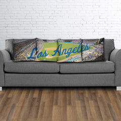 Los Angeles Color Panoramic Stadium Pillow Cover Set - societyofprints - Society of Prints - Throw Pillow