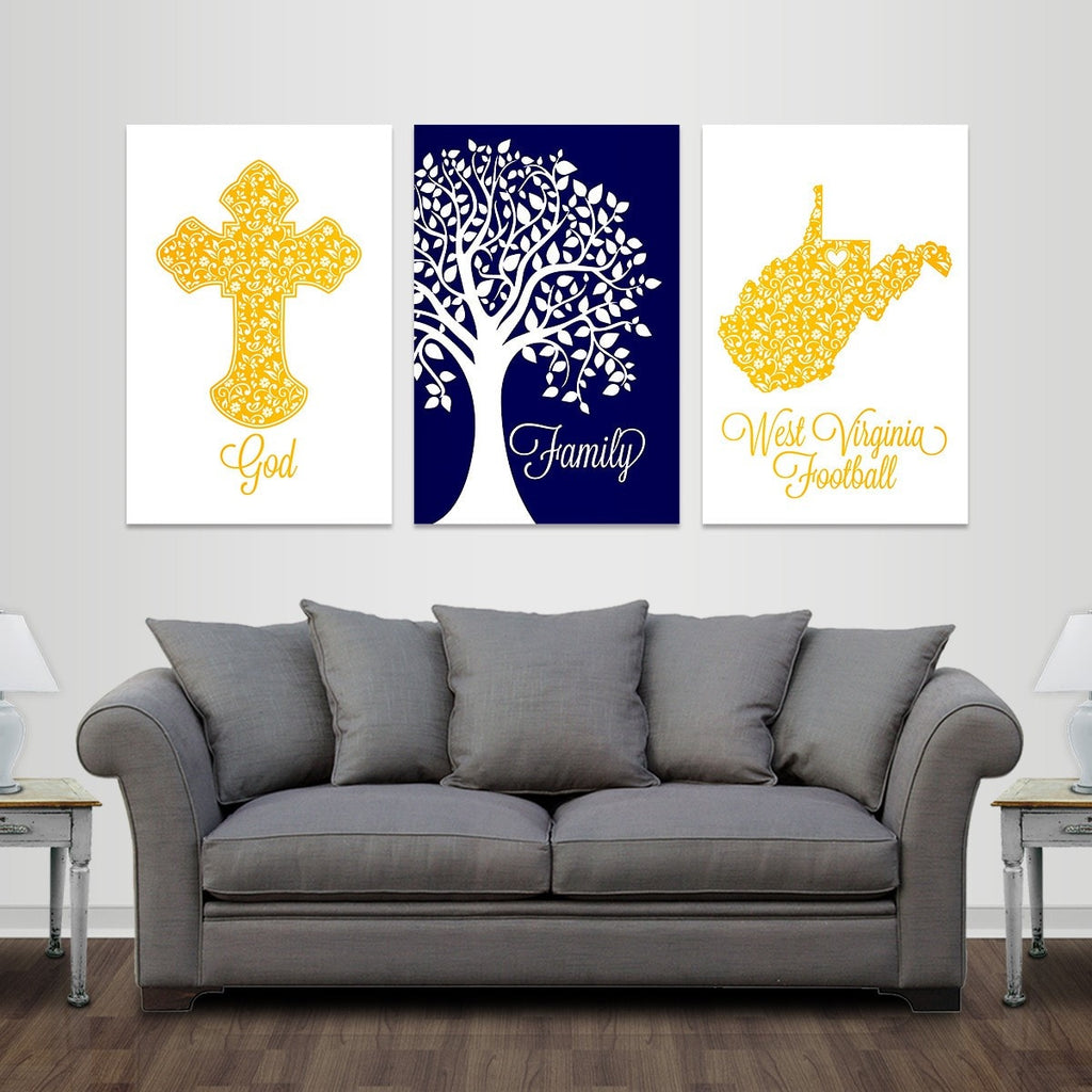 God, Family, Morgantown Football - Premium Canvas Set - societyofprints - Society of Prints - Canvas Wrap