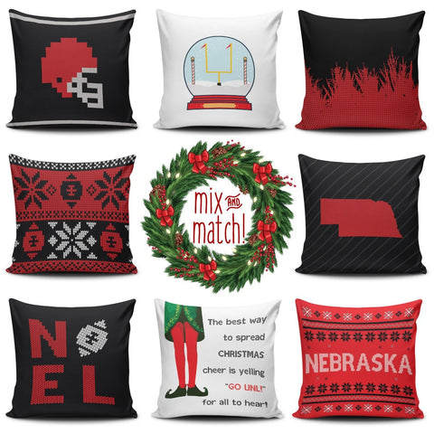 Nebraska Christmas Mix & Match Pillow Covers - societyofprints - Society of Prints - Pillows