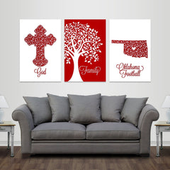 God, Family, Norman Football - Premium Canvas Set - societyofprints - Society of Prints - Canvas Wrap