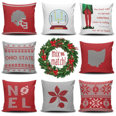 Ohio State Christmas Mix & Match Pillow Covers - societyofprints - Society of Prints - Throw Pillow