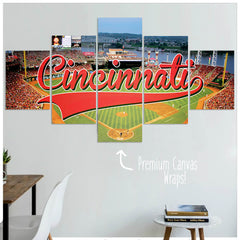 Cincinnati  - 5 Panel Premium Canvas Wraps - societyofprints - Society of Prints - Canvas