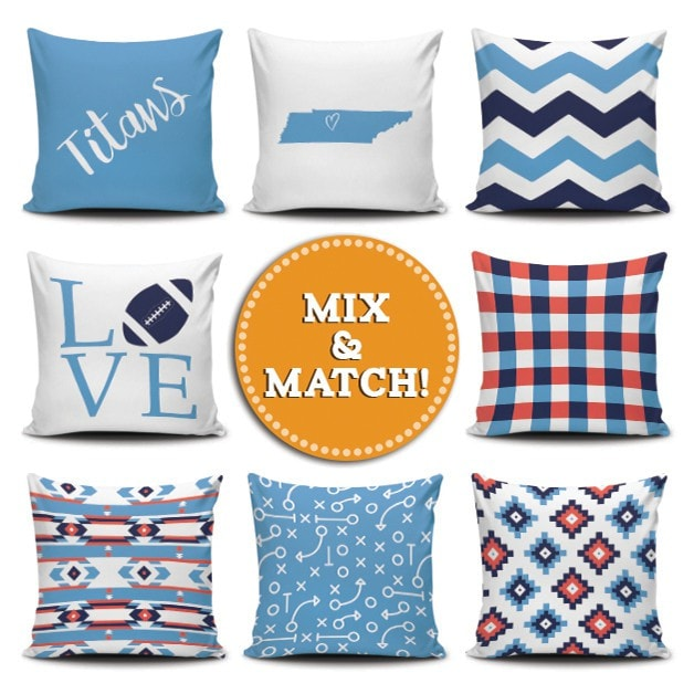 Tennessee Football Mix & Match - societyofprints - Society of Prints - Pillows