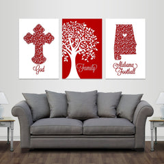 God, Family, Tuscaloosa Football - Premium Canvas Set - societyofprints - Society of Prints - Canvas Wrap