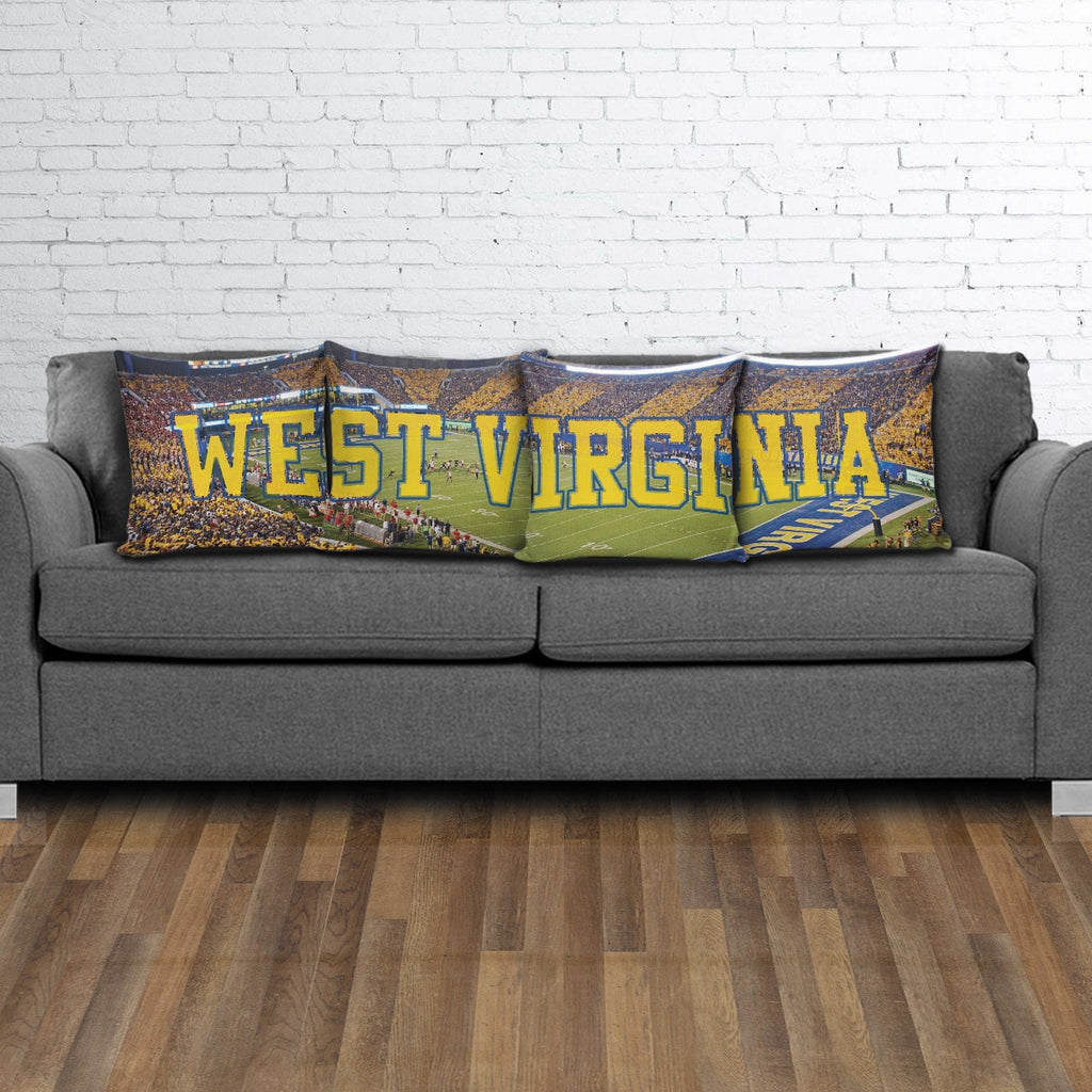 West Virginia Panoramic Stadium Pillow Cover Set - societyofprints - Society of Prints -