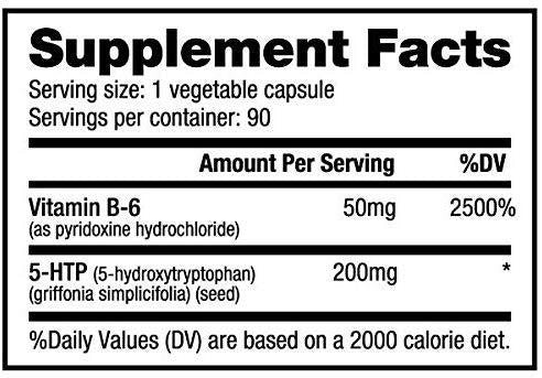 5-HTP Nutrabio Labs Nutrition Label