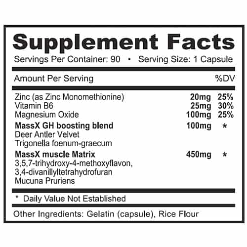 Alpha Mass X ATS Labs Nutrition Label