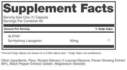 Alpha5 Alchemy Labs Nutrition Label