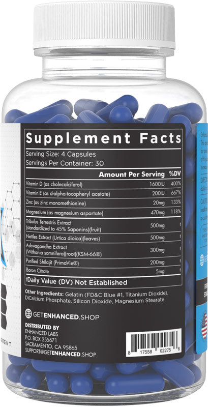 Blue Ox Enhanced Athlete Nutrition Label