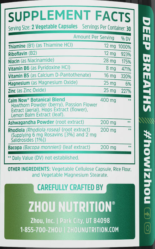 Calm Now Zhou Nutrition Nutrition Label