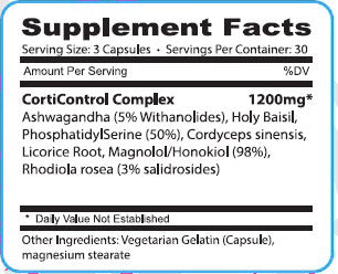 Corticontrol ATS Labs Nutrition Label