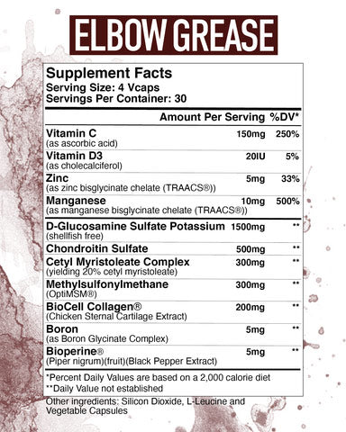 Elbow Grease Axe & Sledge Supplements Nutrition Label