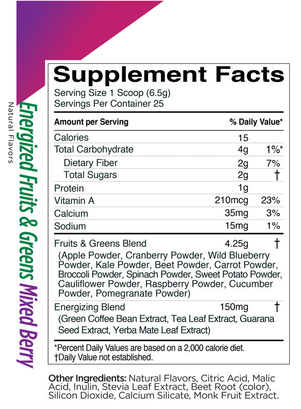 Energized Fruits & Greens Rule 1 Nutrition Label