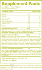 Fruits & Greens Optitune Nutrition Nutrition Label