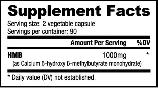 HMB Nutrabio Labs Nutrition Label