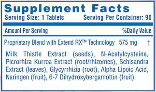 Liver-Rx Hi-Tech Pharmaceuticals Nutrition Label