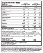 Mass Revolution Musclesport International Nutrition Label