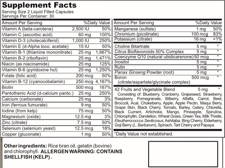 Men's Multi-Vitamin ATS Labs Nutrition Label