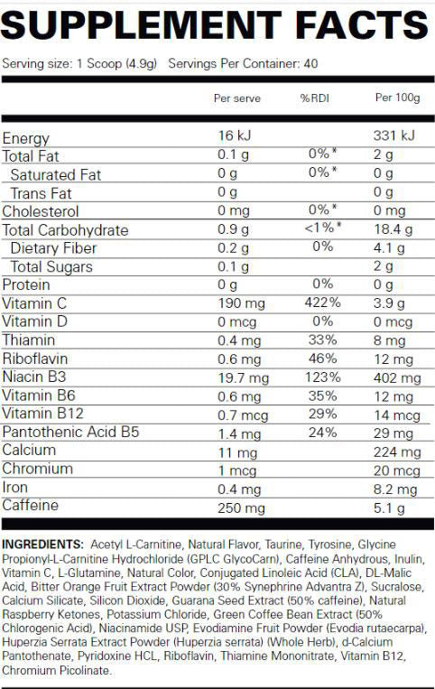 Oxyshred Hardcore EHP Labs Nutrition Label