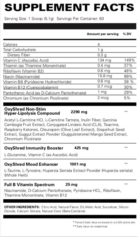 Oxyshred Non-Stim EHP Labs Nutrition Label