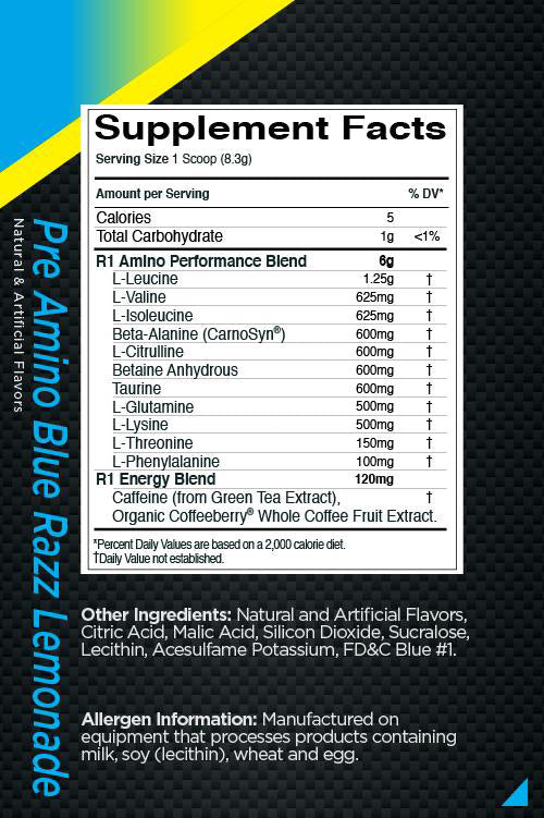 Pre Amino Energy Rule 1 Nutrition Label