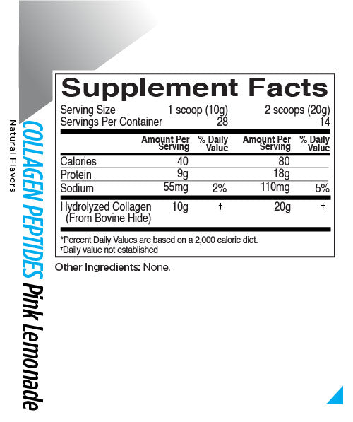 R1 Collagen 28 servings Rule 1 Nutrition Label