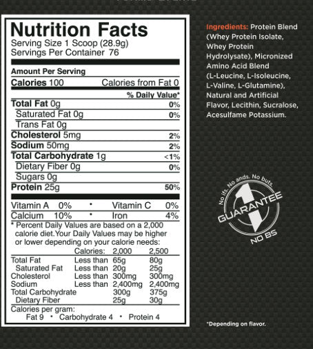 R1 Whey Isolate 5lb Rule 1 Nutrition Label