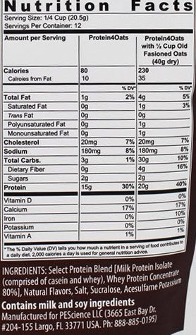 SELECT Protein4Oats PEScience Nutrition Label