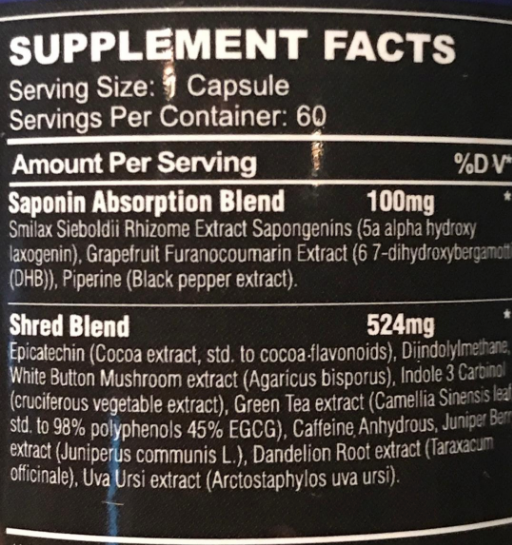 Shred Matrix Black Scorpion Labz Nutrition Label