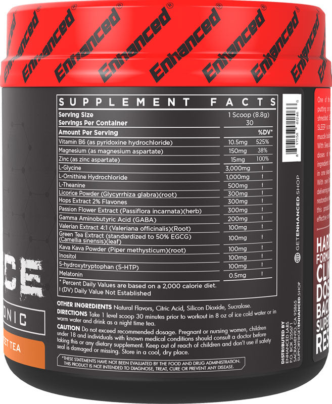 Sleep Juice Enhanced Athlete Nutrition Label