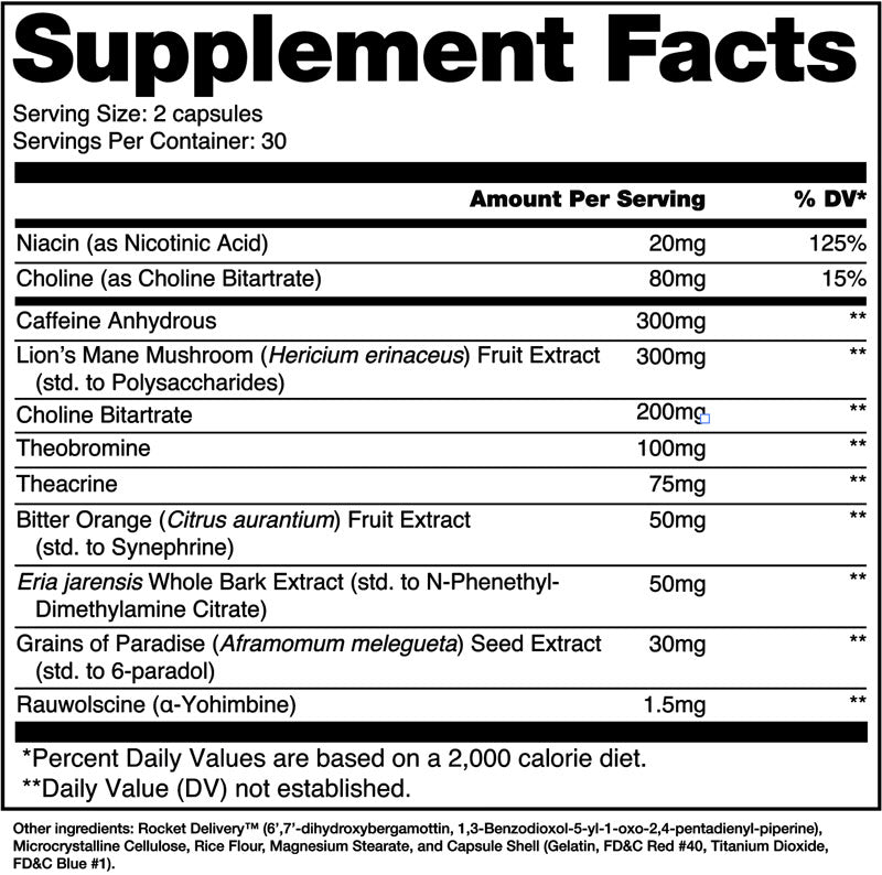 Stim & Slim Alchemy Labs Nutrition Label