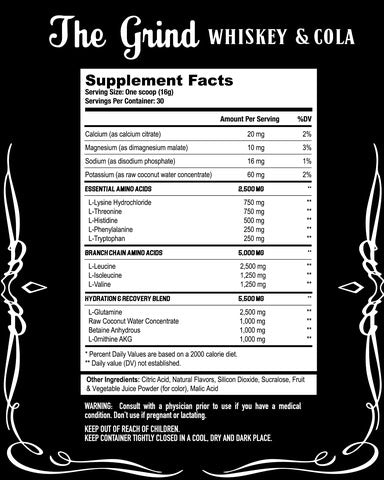 The Grind Axe & Sledge Supplements Nutrition Label