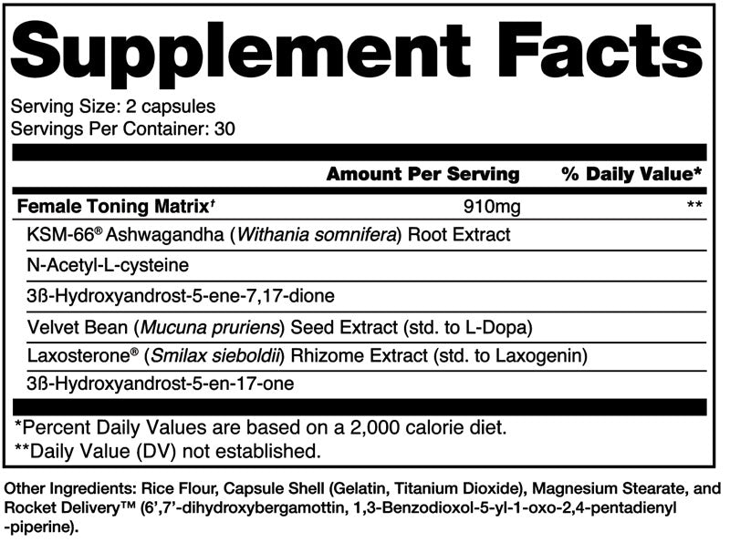 Victress Alchemy Labs Nutrition Label
