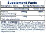 Vitamin C Hi-Tech Pharmaceuticals Nutrition Label